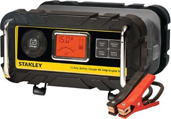 7. STANLEY BC15BS Fully Automatic 15 Amp 12V Bench Battery Charger
