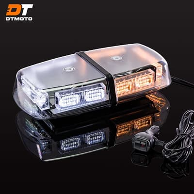 DT MOTO White LED Emergency Warning Mini Light Bar